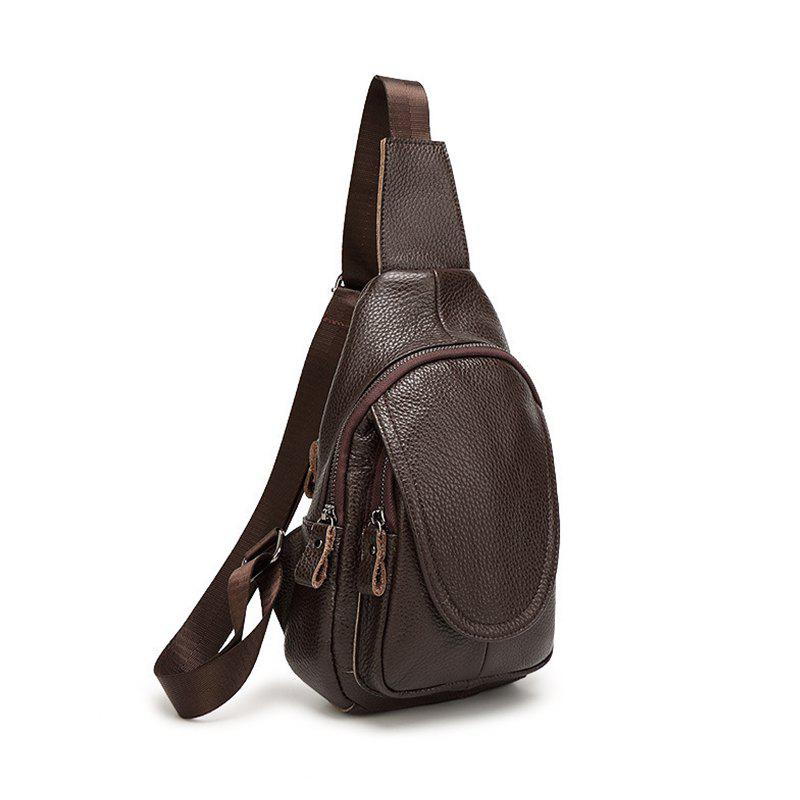 Fashionable and Casual Solid Color Female Slant Bag - BROWN