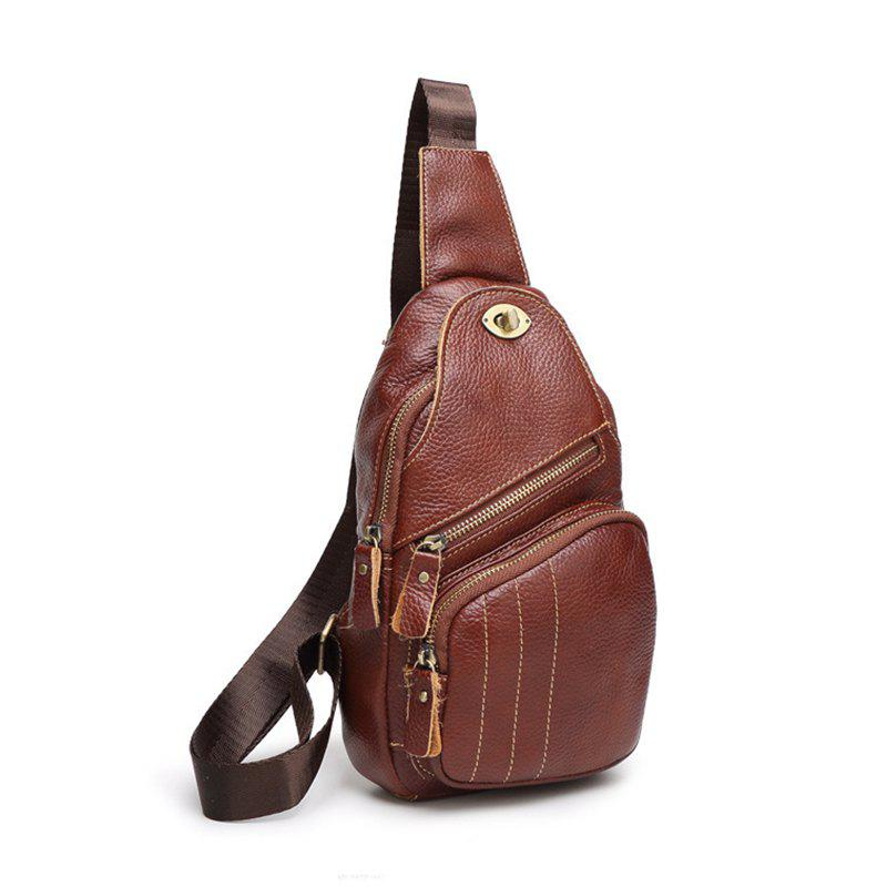 Fashion Casual Bag with Leather Shoulder Bag - BROWN