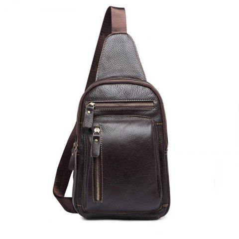 Casual Fashion Pure Leather Cross-body Bag - BROWN