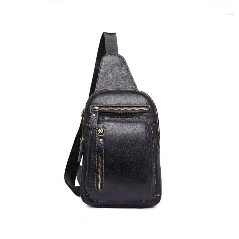 Casual Fashion Pure Leather Cross-body Bag - BLACK