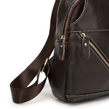 Fashion Casual Simple Real Leather Cross-body Bag - BLACK