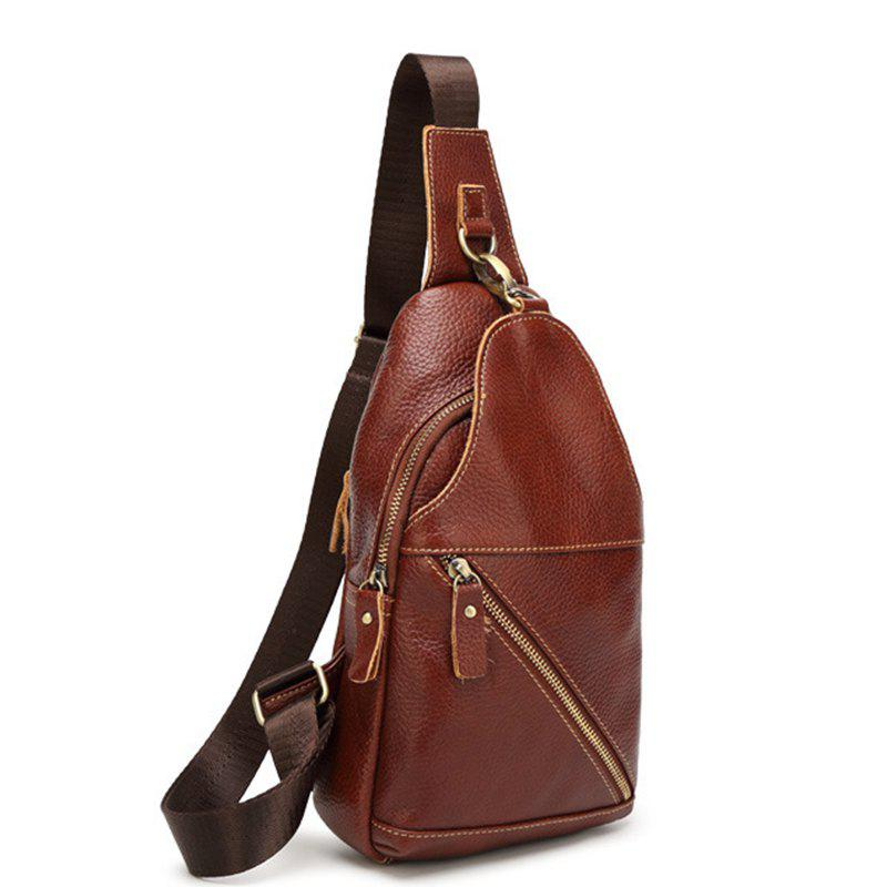 Fashion Casual Simple Real Leather Cross-body Bag - BROWN