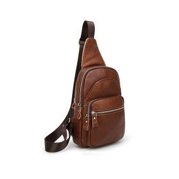Simple Pure Color Fashion Casual Slant Bag - BROWN
