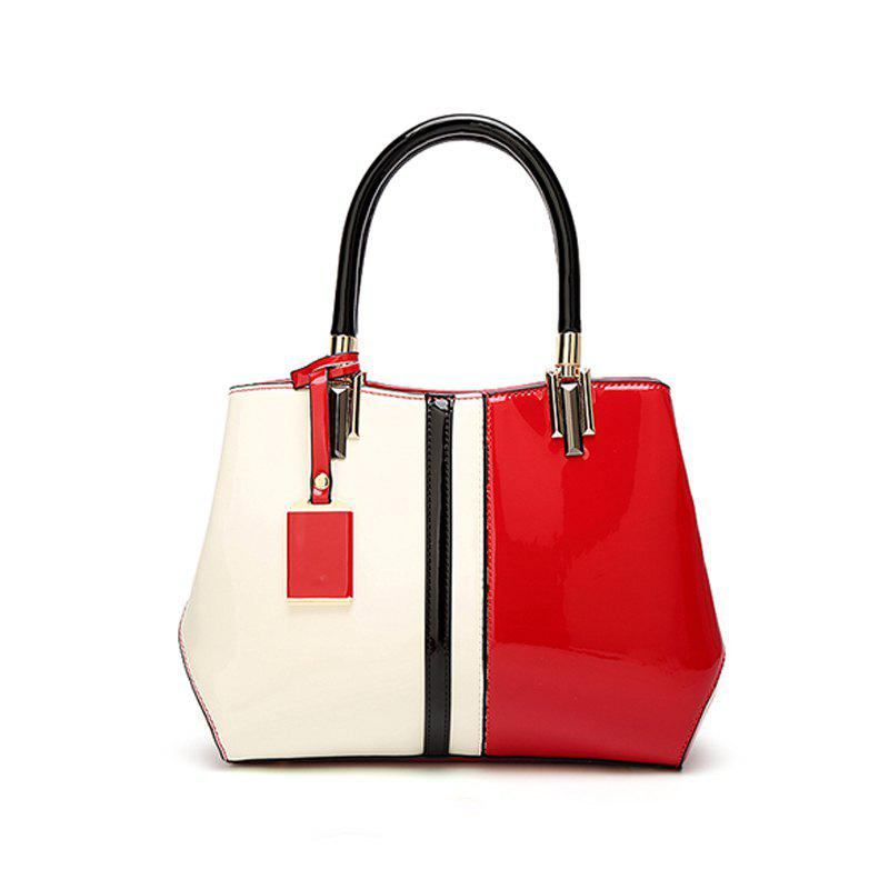 Fashionable lacquered leather handbag - RED/WHITE