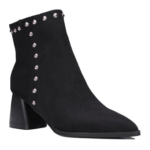 Women Shoes Zip Chunky Heel Rivets Motorcycle Boots Booties - BLACK 32