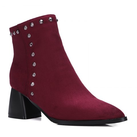 Women Shoes Zip Chunky Heel Rivets Motorcycle Boots Booties - RED 39