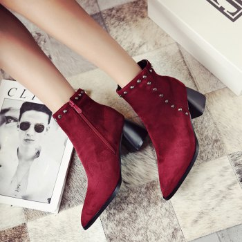 Women Shoes Zip Chunky Heel Rivets Motorcycle Boots Booties - RED 36