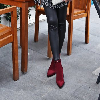 Women Shoes Zip Chunky Heel Rivets Motorcycle Boots Booties - RED 32