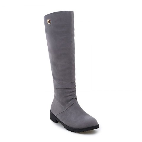 Women Shoes Round Toe Low Heel Winter Concise Knee High Boots - GRAY 37