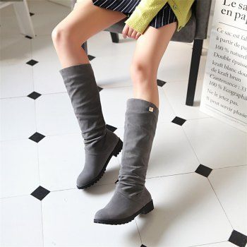 Women Shoes Round Toe Low Heel Winter Concise Knee High Boots - GRAY GRAY