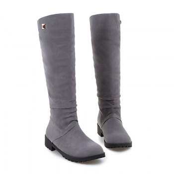 Women Shoes Round Toe Low Heel Winter Concise Knee High Boots - GRAY 38