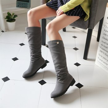 Women Shoes Round Toe Low Heel Winter Concise Knee High Boots - GRAY 35