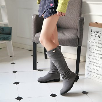 Women Shoes Round Toe Low Heel Winter Concise Knee High Boots - GRAY 36