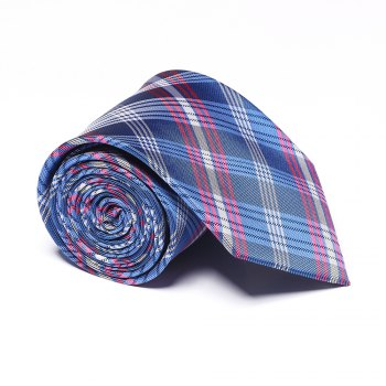 Fashion Men's Accessories Business Necktie Lattice Pattern Smooth All Match Classic Striped Plaid Casual Tie - BLUE + WHITE + RED BLUE / WHITE / RED