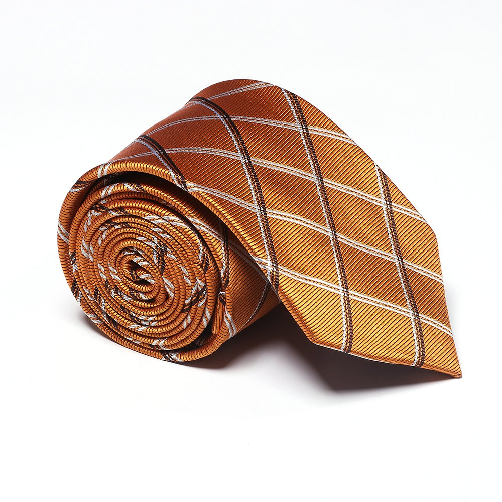 Fashion Men's Accessories All Match Business Necktie Lattice Pattern Striped Casual Plaid Simple Fine Tie - GOLDEN