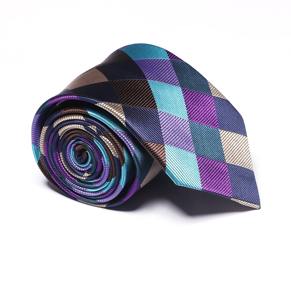 New Fashion Men's Accessories Business Necktie Multicolor Rhombus Lattice Pattern Stylish Plaid Comfy Tie - COLORFUL GEOMETRIC