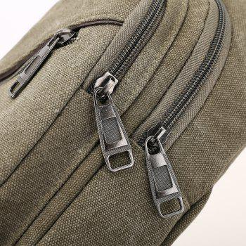 Canvas Double Zipper Multifunctional Single Shoulder Chest Shoulder Crossbody Bag - GREEN