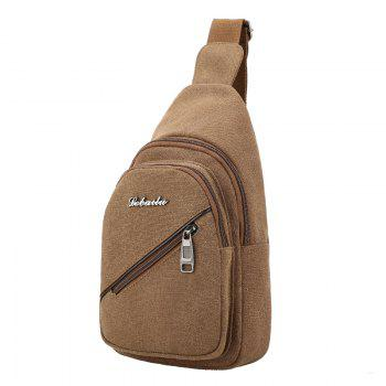 Canvas Double Zipper Multifunctional  Chest Shoulder Crossbody Bag
