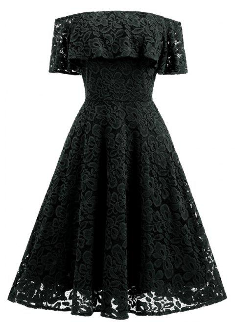 2017 New Type of Shoulder Lace Big Swing Dress - BLACK L
