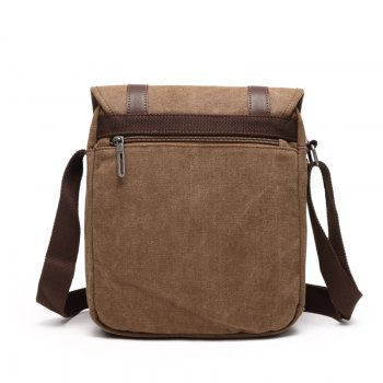 Young Fashion Canvas Single Shoulder Bag - KHAKI HORIZONTAL