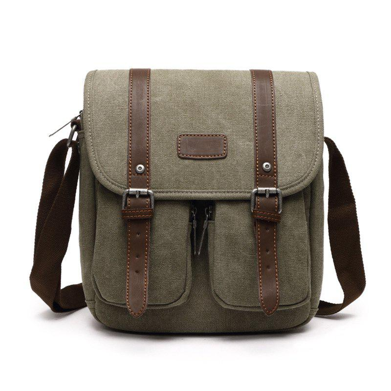 Young Fashion Canvas Single Shoulder Bag - ARMYGREEN HORIZONTAL