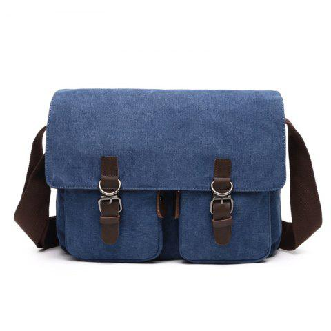 Young Fashion Slanted Canvas Shoulder Rucksack - BLUE VERTICAL