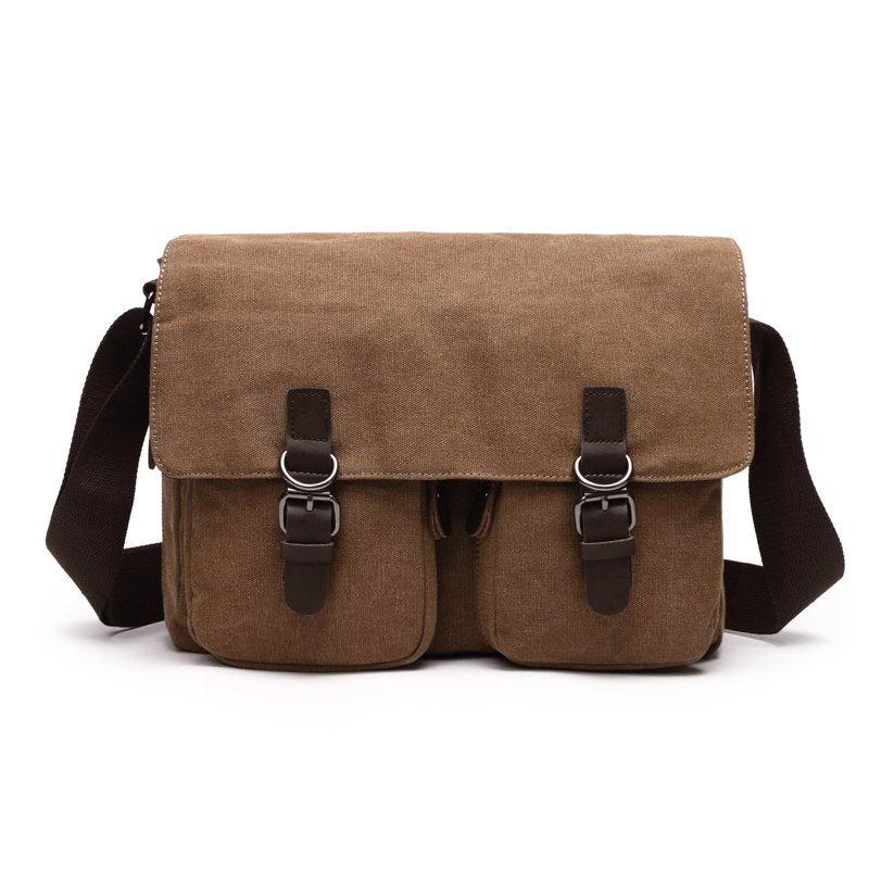 Young Fashion Slanted Canvas Shoulder Rucksack - KHAKI HORIZONTAL