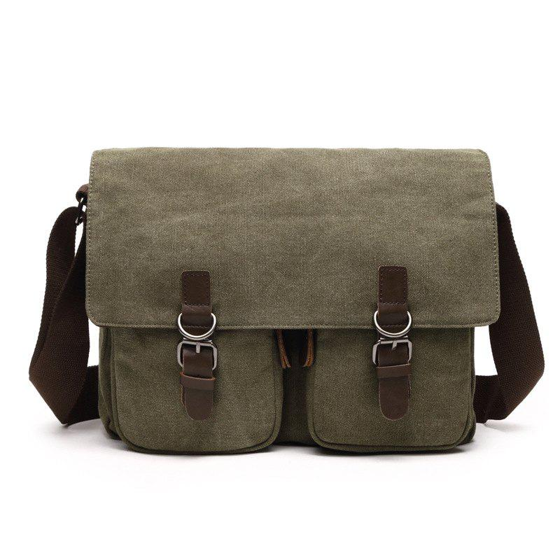 Young Fashion Slanted Canvas Shoulder Rucksack - ARMYGREEN HORIZONTAL