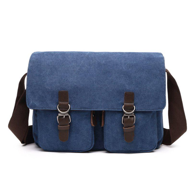 Young Fashion Slanted Canvas Shoulder Rucksack - BLUE HORIZONTAL