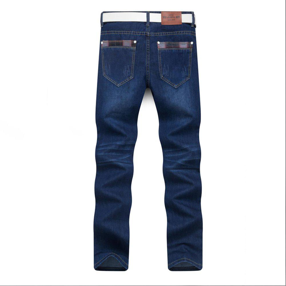 Men's Jeans Straight Mid Waisted Solid Color Denim Pants