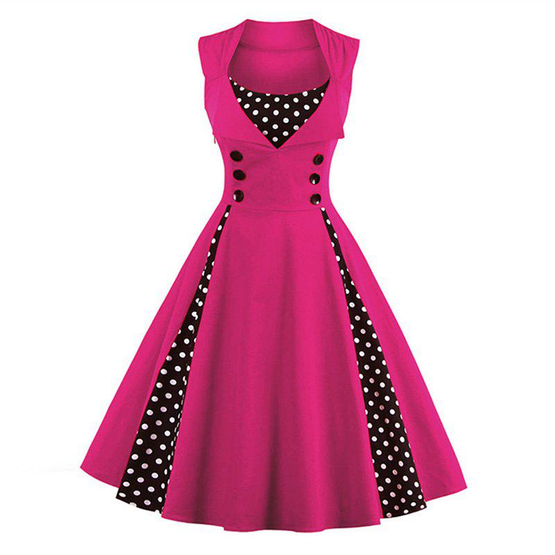 S-5XL Women Robe Pin Up Dress Retro 2017 Vintage 50S 60S Rockabilly Dot Swing Summer Female Dresses Elegant Tunic Vestid pinup rockabilly special retro atmosphere beautiful generous banquet hoop rabbit ear