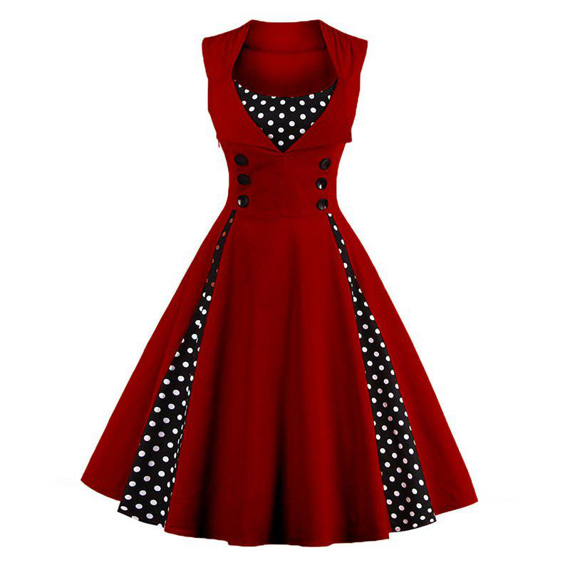 S-5XL Women Robe Pin Up Dress Retro 2017 Vintage 50S 60S Rockabilly Dot Swing Summer Female Dresses Elegant Tunic Vestid retro ruched swing pin up dress