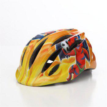 LED Child Bicycle Helmet Bike Cycling Adjustable Kid Unisex Safety Equipment Cartoon - YELLOW AND RED YELLOW/RED