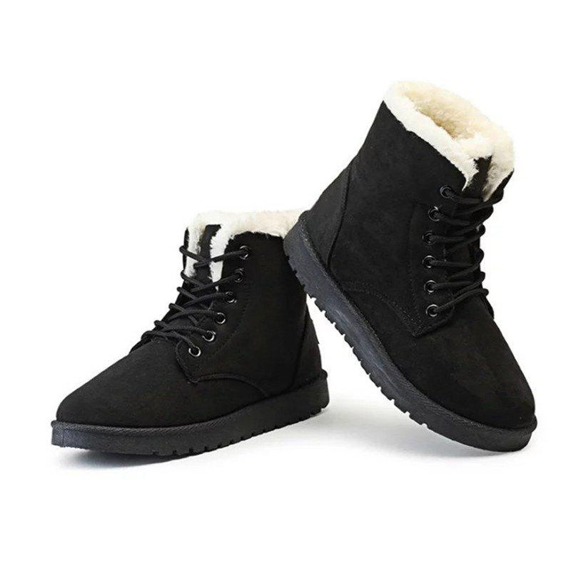 TNND New Winter Warm flat comfortable snow boots women lace up shoes