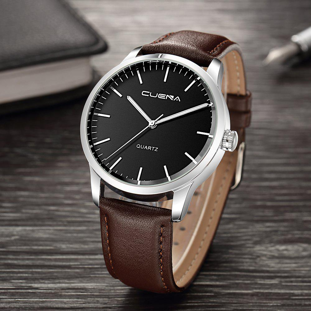 CUENA 6608P Men's Fashion Trendy Leather Quartz Wristwatch - BROWN BAND BLACK DIAL SILVER CASE