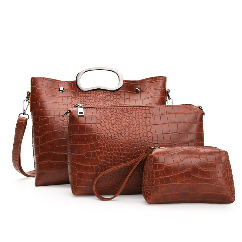 Three-piece Pure Color Crocodile Grain Hard Handbag - BROWN VERTICAL
