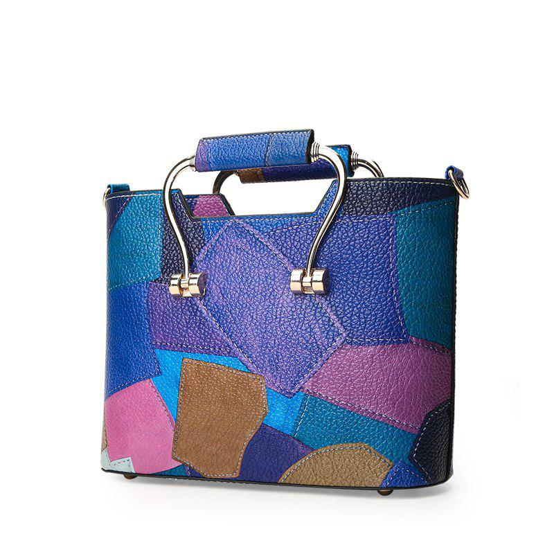 Color Mosaic Iron Hand Small Package Bags - BLUE VERTICAL