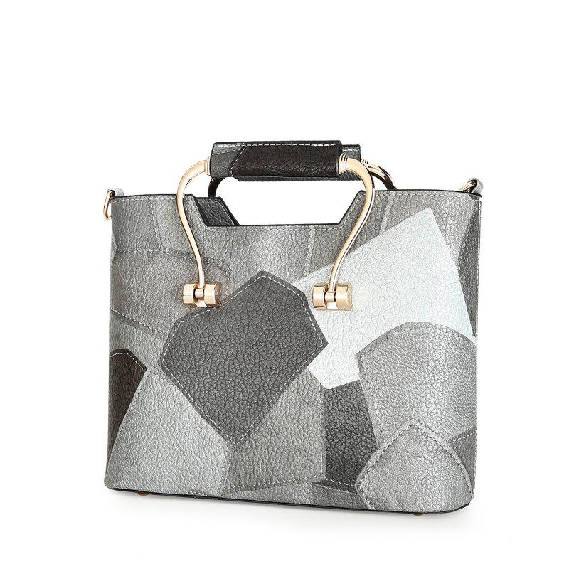 Color Mosaic Iron Hand Small Package Bags - GRAY VERTICAL