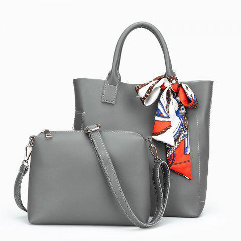 Two-piece Pure Color Fashion Car Suture Silk Scarves Bucket Bag - GRAY VERTICAL