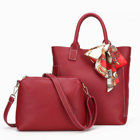 Two-piece Pure Color Fashion Car Suture Silk Scarves Bucket Bag - RED VERTICAL