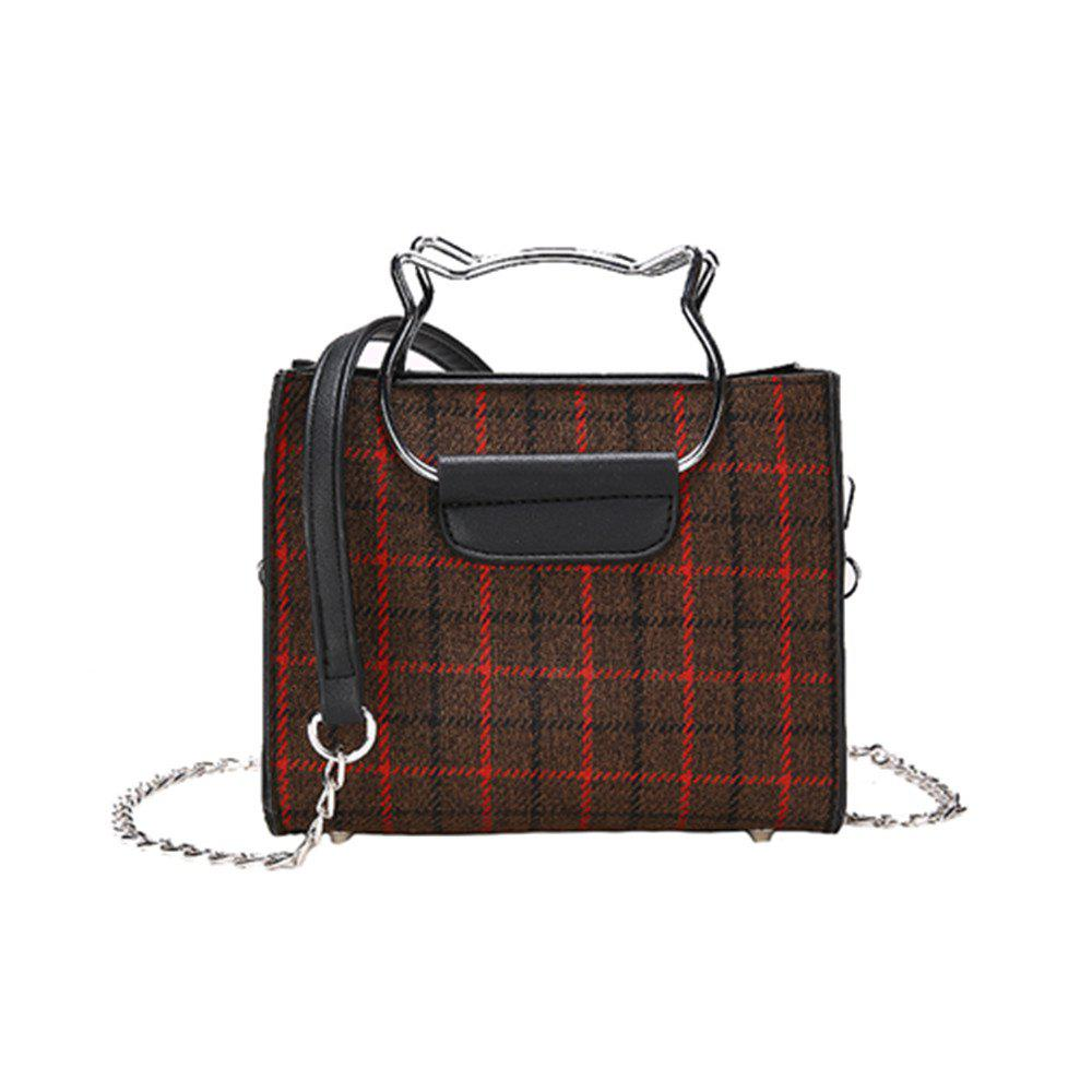 New Shoulder Messenger Handbag Female Plaid Bag - BLACK