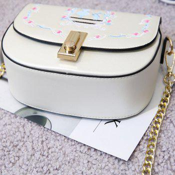 New Handbags Embroidery Saddle Package Chain Bag - WHITE