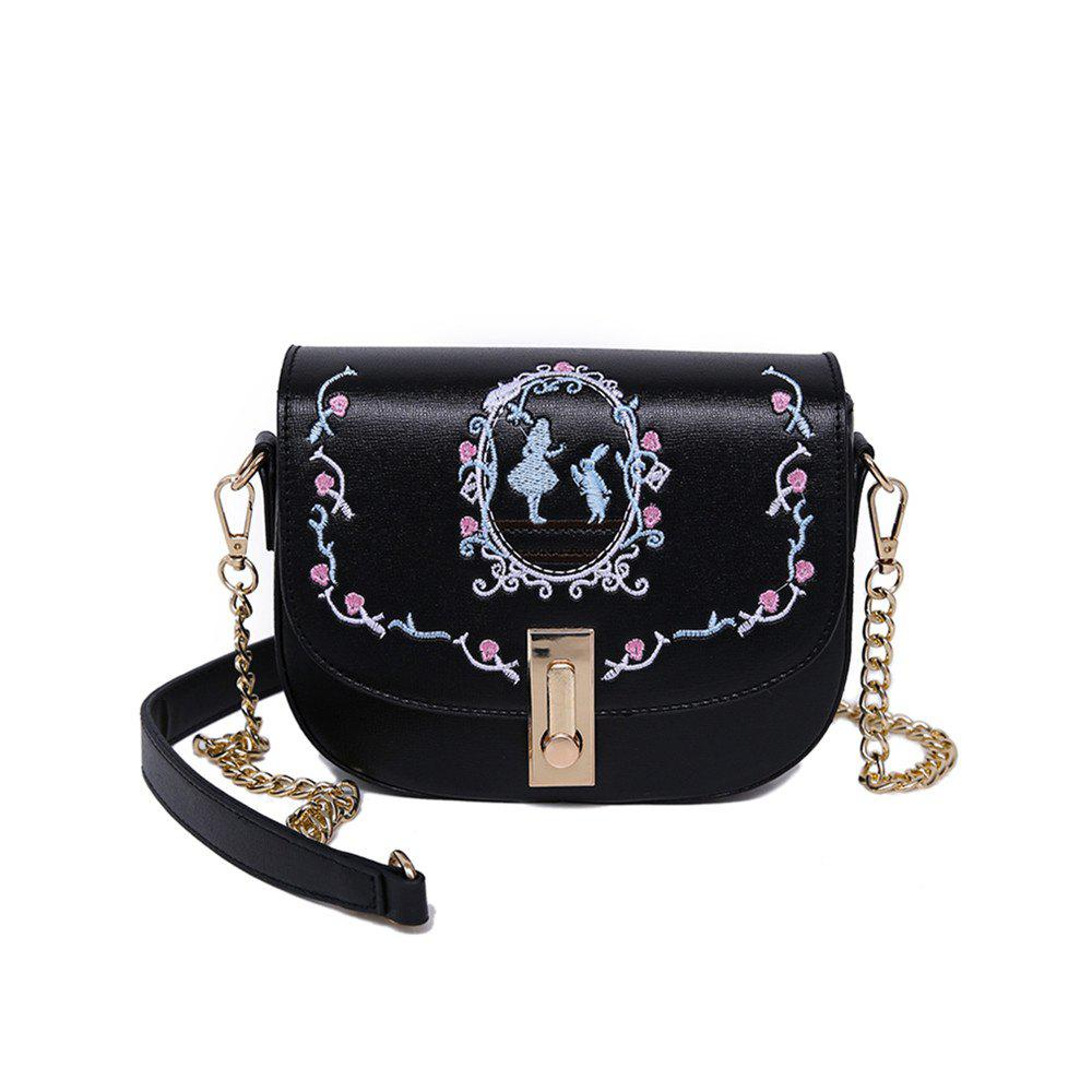 New Handbags Embroidery Saddle Package Chain Bag - BLACK