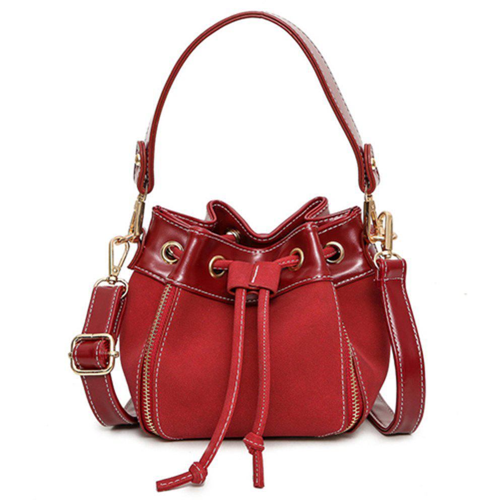 Pumping Retro Matte Leather Bucket Messenger Bag - RED
