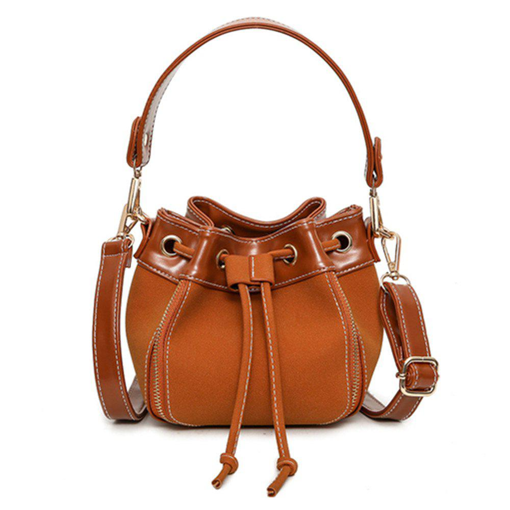 Pumping Retro Matte Leather Bucket Messenger Bag - BROWN