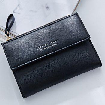 Zipper Short Standard Wallet Fashion PU Leather Solid Coin Card Purse Women Lady Clutch - BLACK