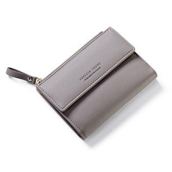 Zipper Short Standard Wallet Fashion PU Leather Solid Coin Card Purse Women Lady Clutch - GRAY GRAY