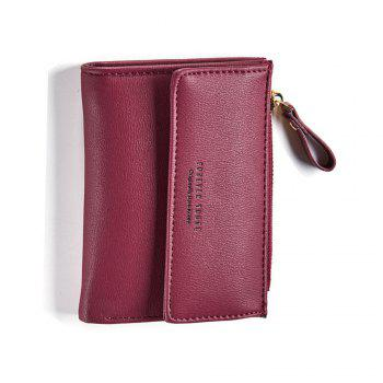 Zipper Short Standard Wallet Fashion PU Leather Solid Coin Card Purse Women Lady Clutch -  WINE RED