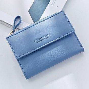 Zipper Short Standard Wallet Fashion PU Leather Solid Coin Card Purse Women Lady Clutch - BLUE
