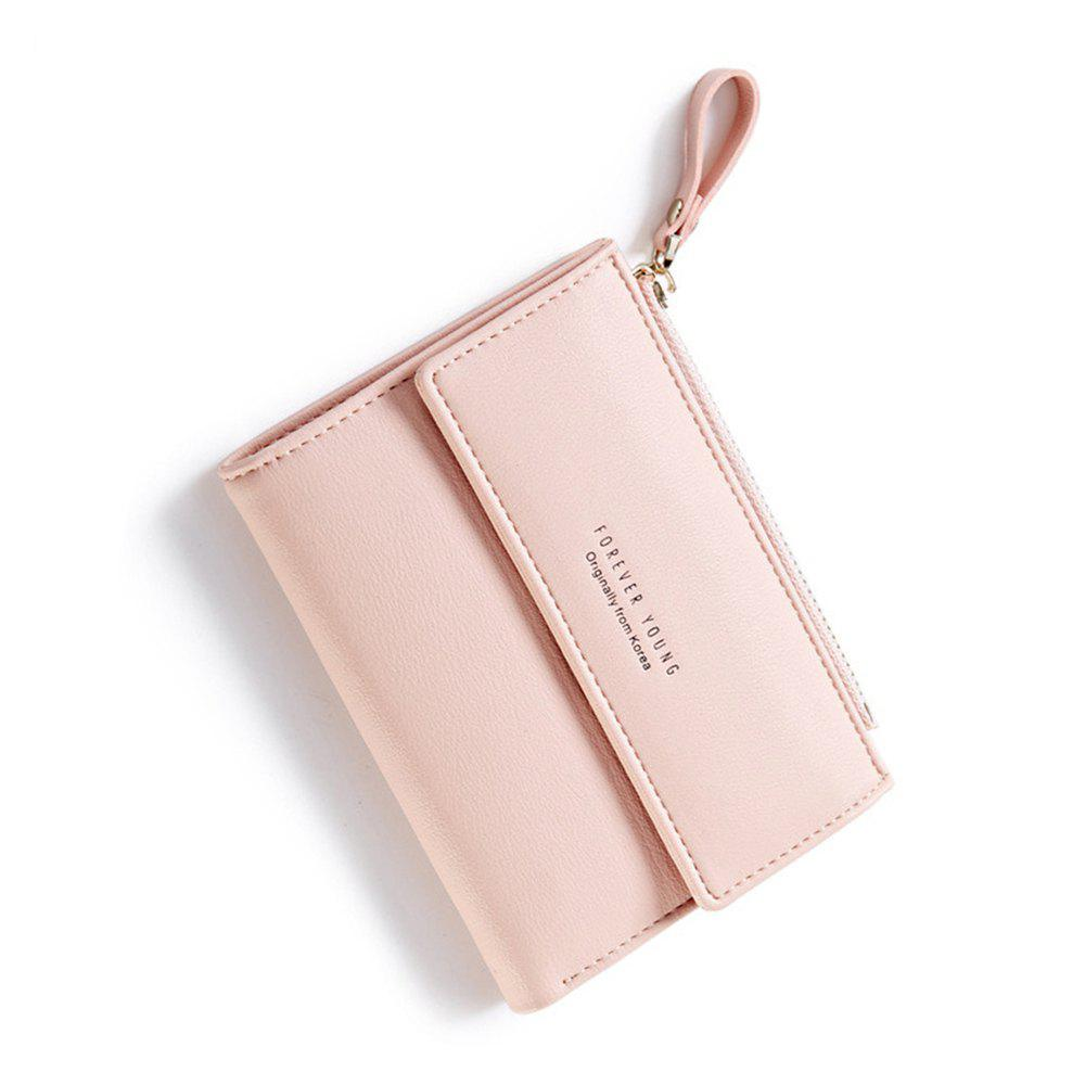 Zipper Short Standard Wallet Fashion PU Leather Solid Coin Card Purse Women Lady Clutch - PINK